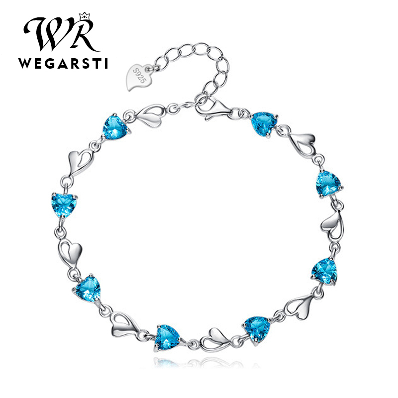 WEGARASTI Silver 925 Jewelry Bracelets For Women Aquamarine 925 Sterling Silver Heart Charm Bracelets Party Anniversary Jewelry