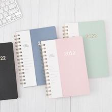 A5 2022 Diary Weekly Planner Agenda Spiral Organizer Notebook Index sticker Goals Habit Schedules Stationery School Supplies