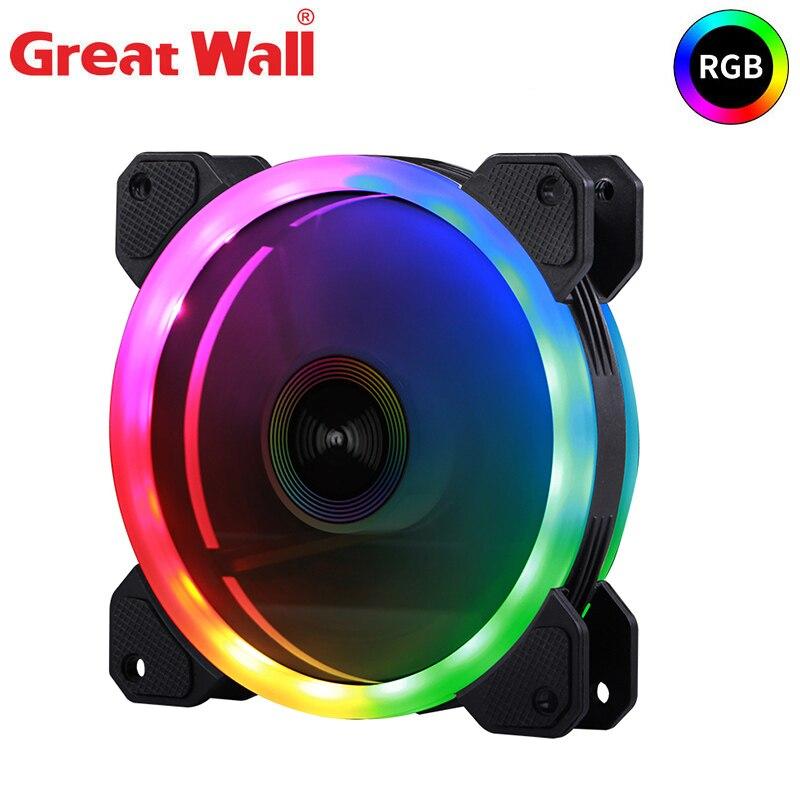 Great Wall PC Case Fan PWM 4pin RGB LED Cooling Fans for PC Fan 120mm Silent Heatsink 12V Dual Halo Computer Cooler Fan Cooling|Fans & Cooling| - AliExpress