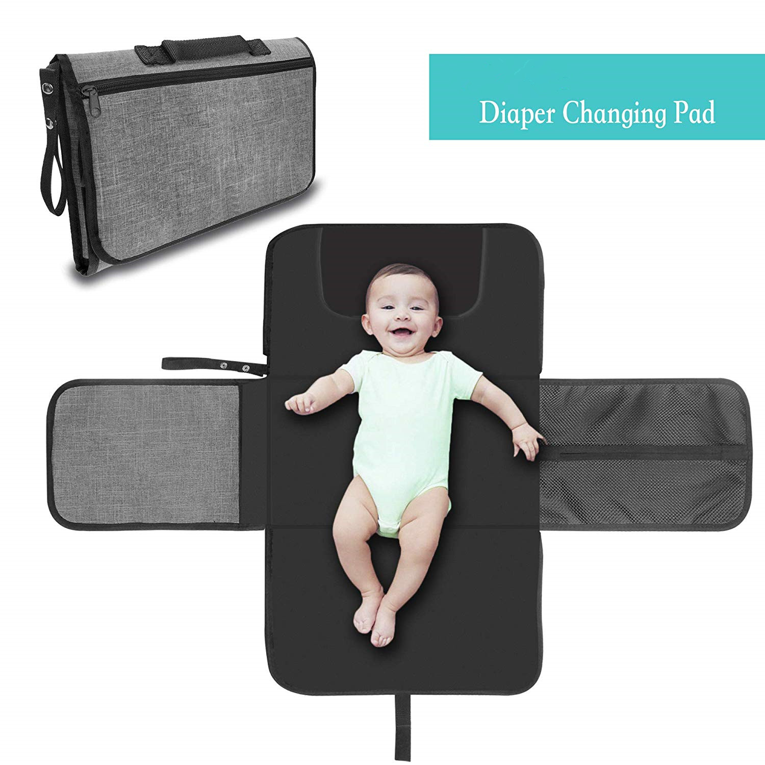 Portable Nappy Changing Mat, Waterproof Foldable Baby Changing Kit, Soft Pillow Diaper Pad Keep Baby Clean For Home Travel