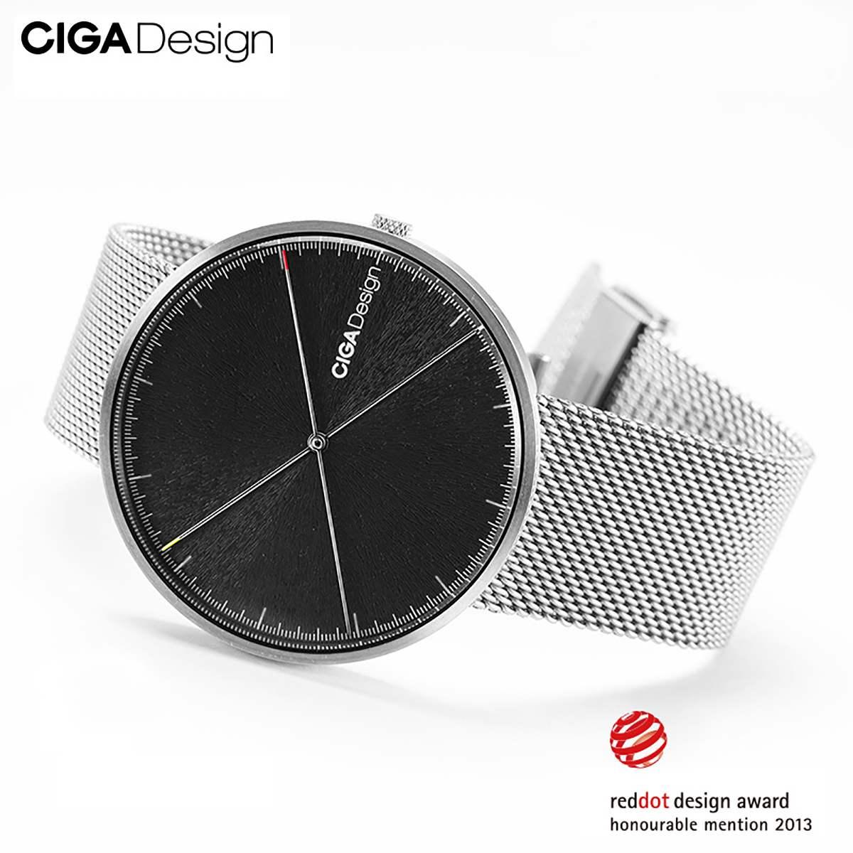 CIGA conception CIGA montre à Quartz mode Simple Quartz acier/cuir ceinture point rouge conception prix montre hommes montre série X - 3