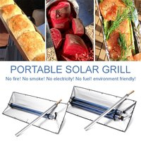 Outdoor Portable Solar Power BBQ Grill Single/Dual Tube Camping Oven Fuel Free Stove Cooker Barbecue Cooking Tools Kitchen