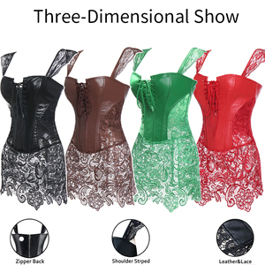 Image 5 - Womens Sexy Corsets Faux Leather Steampunk Gothic Clothing Long Fashion Black Green Corset Lace Up Bustier Overbust Plus Size