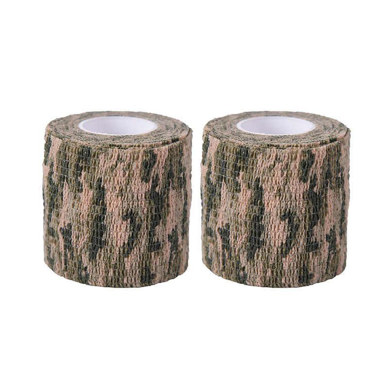 2 pçs rolo camuflagem envoltório bandagem 4.5 m auto-adesivo arma decoração militar estiramento médica bandagem camuflagem fita