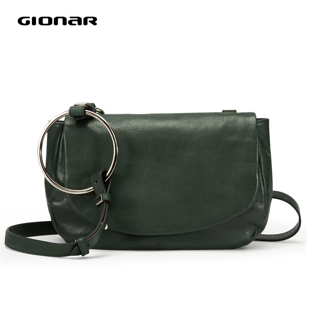 GIONAR suave de cuero genuino Vintage bandolera mujeres señoras 2019 pequeños bolsos y bolsos de diseñador de lujo