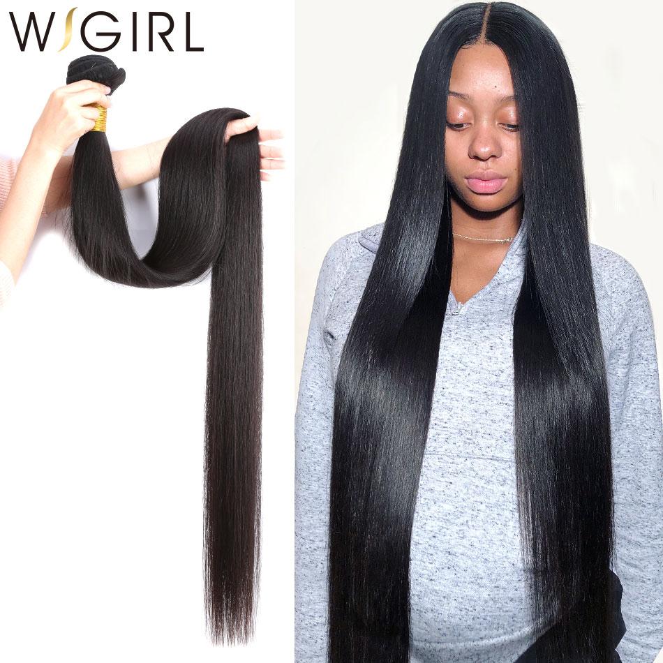 Mechones de pelo brasileño Remy de 8-28 30 32 40 pulgadas recto de Wigirl 100% cabello humano Natural 1 3 4 mechones
