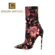 KATELVADI Winter Boots Women Ankle Print Flock 12.5CM High Heel Night Club Party Shoes K-570