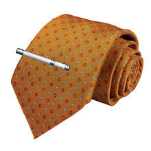 Fashion Men Tie Gold Floral Dot Wedding For Hanky Cufflinks Clip Set DiBanGu Designer Silk Dropshipping  MJ-7174