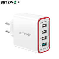 BlitzWolf 4 Ports QC3.0 Quick Charge EU Plug LED Light 30W 2.4A USB Travel Wall Charger Power3S For iPhone Android For N-Swich