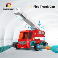 DEERC RC Cars-camión de bomberos con música, bricolaje, juguetes para desensamblaje, camiones de Control remoto, juego de ensamblaje para niños