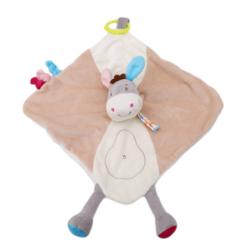 Comforter Handkerchief Soothing Towel Baby Security Blankets Plush Animal Doll Teether for Baby Sensory Development Baby Toys