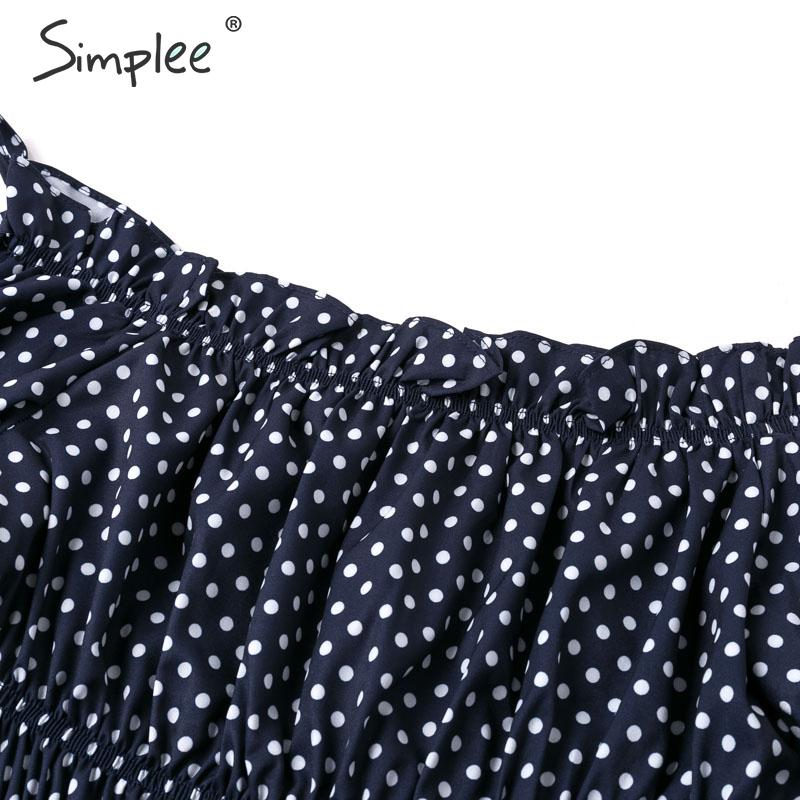 Image 5 - Simplee Sexy off shoulder ruffle women blouse shirt Ladies lantern sleeve casual beach holiday shirts Female summepolka dot blusBlouses & Shirts   -