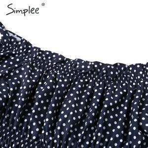 Image 5 - Simplee seksi kapalı omuz fırfır kadın bluz gömlek bayanlar fener kollu rahat plaj tatil gömlek kadın summepolka nokta blus