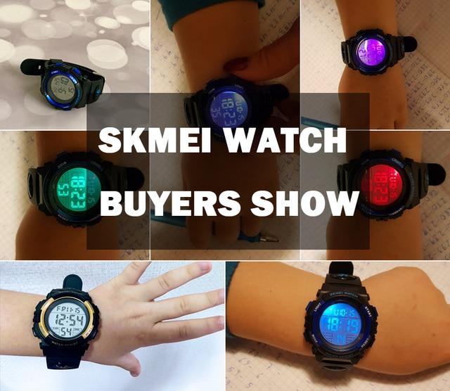Skmei детские резиновые ручные часы дети светодиодные цифровые