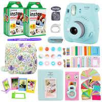 Fujifilm instax mini 9 instantânea câmera de impressão de fotos com 40 folhas mini filme de papel câmera alça de ombro saco acessórios pacote