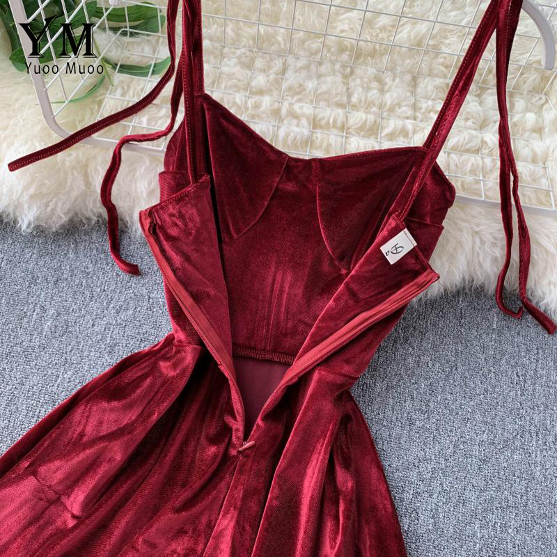 YuooMuoo Elegant Vintage Gothic Spaghetti Strap Dress 2019 Early Fall Basic Women Short Party Dresses Slim High Waist Mini Dress 4