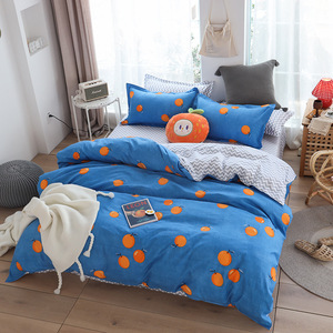 Image 4 - Cute bed linens peach print Home textile bedding luxury fruit duvet cover set sheet bedclothes 3/4pcs girls gift queen king size