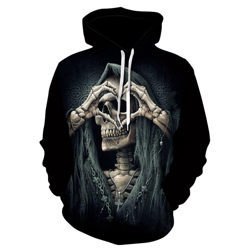 Skull  3D Print Sweatshirt Hoodies Men And Women Hip Hop Funny Autumn Streetwear Hoodies Sweatshirt For Couples Clothes