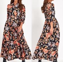 Floral Print Long Maxi Dress Women Elegant Casual Turn Down Collar Shirt Dress Three Quarter Sleeve Bohemian Sashes Dresses