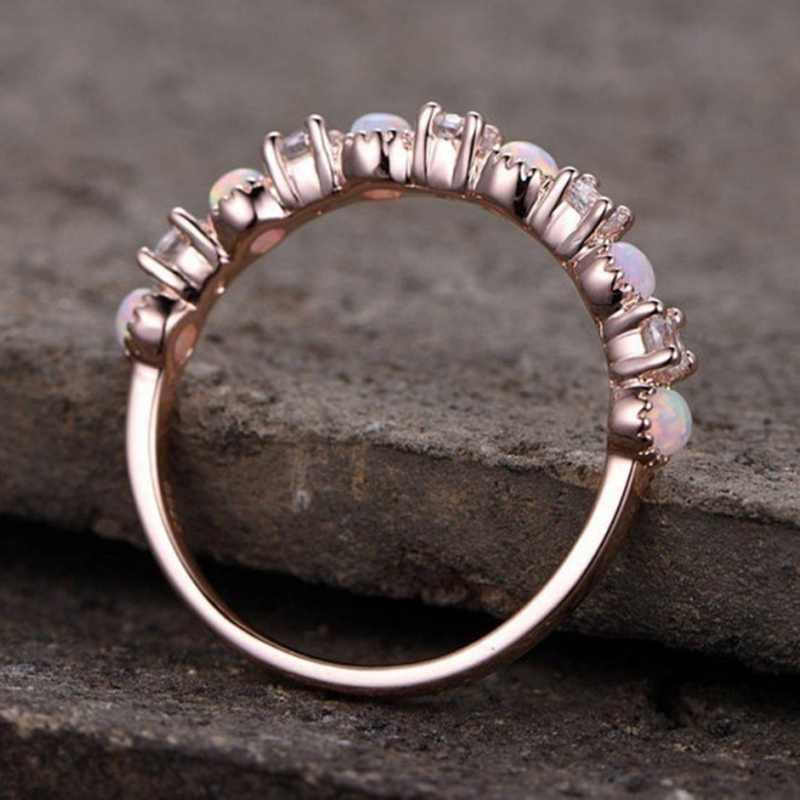 Anillo de ópalo para mujer, piedra Natural rosa, anillo de compromiso CZ de oro rosa para mujer, anillo de compromiso de boda, joyería
