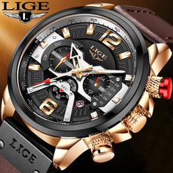 LIGE New Men Watches Top Brand Luxury Leather Chronograph Sport Watch For Mens Fashion Date Waterproof Clock Relogio Masculino