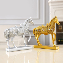 Vintage Creative Resin Golden Rhinestone Walking Horse Figurine Statue Animal Sculpture Home Office Desktop Decoration Gift retro archaize silver horse head statue animal bust luxury model resin craftwork home furnishing articles l2427