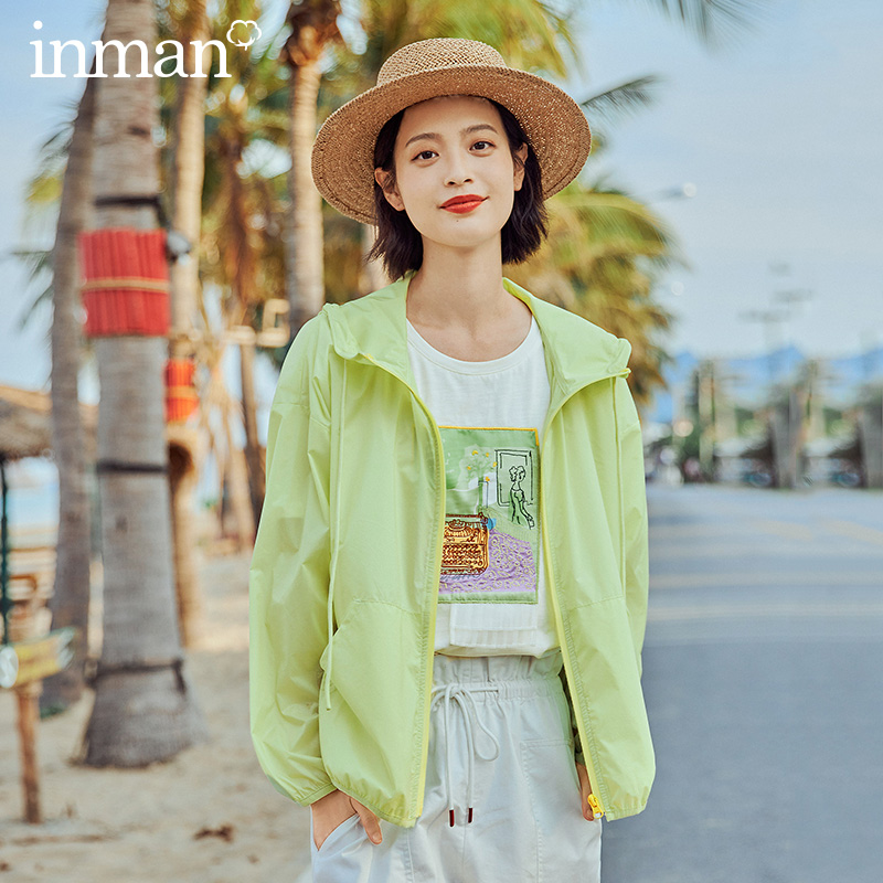 INMAN 2020 Summer New Arrival Candy Color Out Pocket Fashion Long Sleeve Portable Sunscreen Shirt