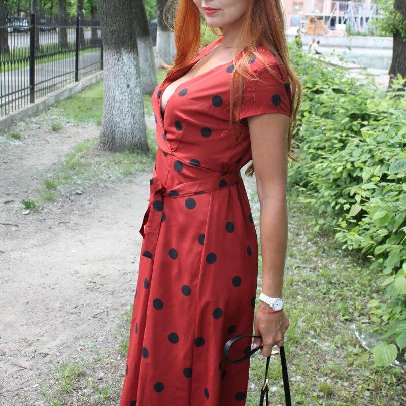 Lossky Summer Dress Women Vintage Dress Casual Polka Dot Print A-Line Party Dresses Sexy V-neck Short Sleeve Long Dress Fashion 2