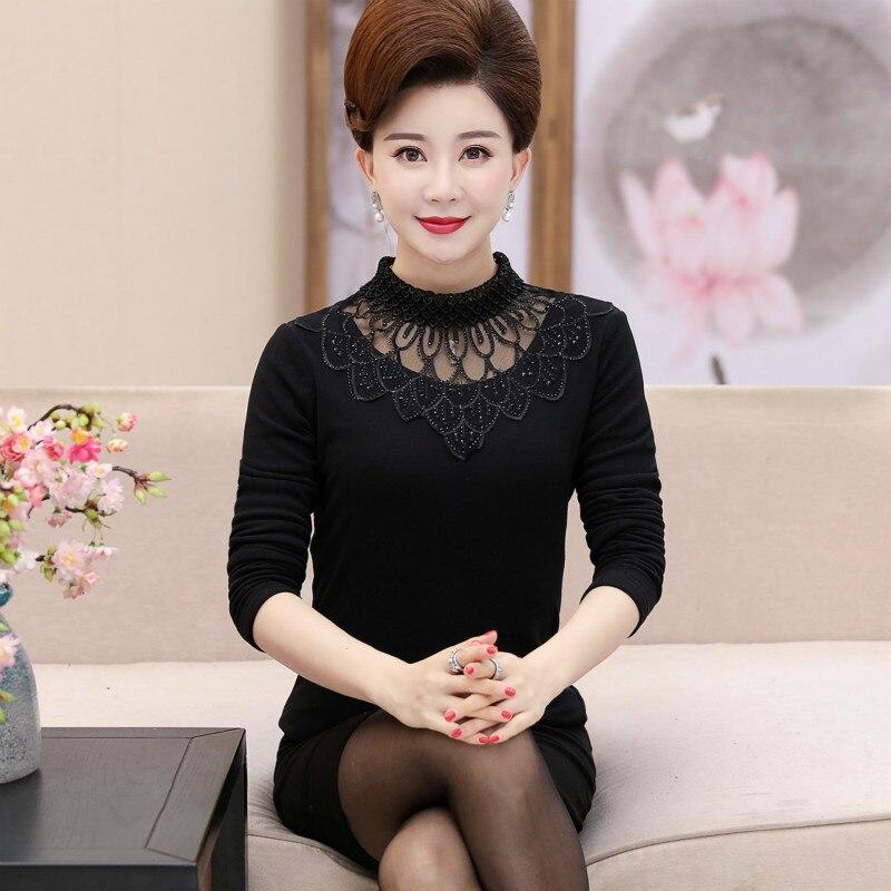 Fashion 2019 Autumn Winter Women Lace Blouses Casual Turtleneck Long Sleeve Ladies Velvet Shirts Tops Blusa Feminina Plus Size