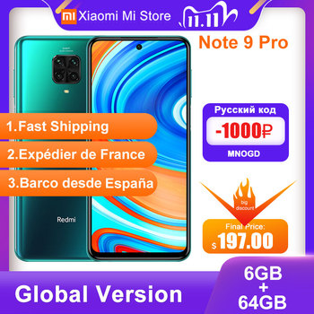Global Version Xiaomi Redmi Note 9 Pro Smartphone  6GB RAM 64GB ROM  Snapdragon 720G 64MP Rear Quad Camera 6.67'' NFC Cellphone