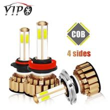 цена на H4 led car bulb h7 H11 9005 9006 HB3 HB4 headlamp lampada Highlight Spotlight hi-lo beam 12V 4 sides cob led h7 headlight 6000k