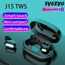 J15 TWS سماعات بلوتوث لاسلكية 9D سماعات أذن استريو الصوت المحيطي الموسيقى سماعات الأعمال سماعة يعمل على جميع الهواتف الذكية