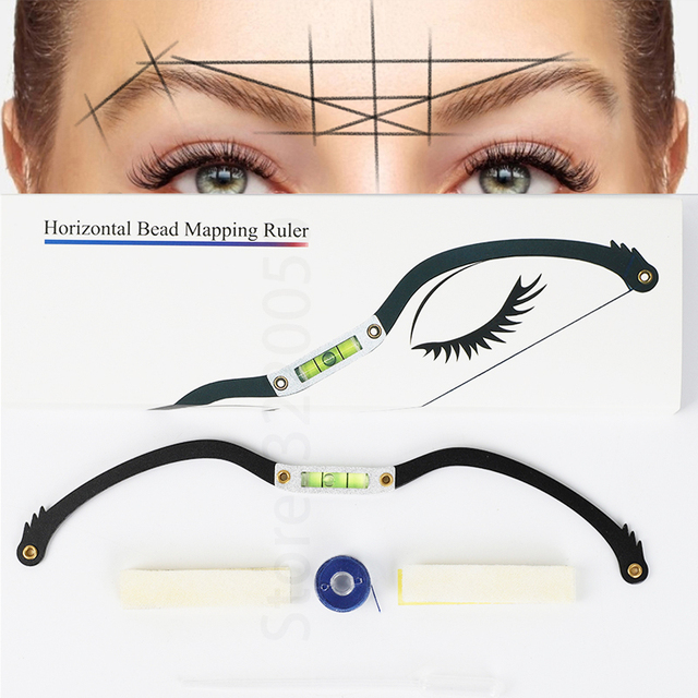 New Eyebrow Mapper ruler Microblading Mapping String Marker Permanent Makeup microblading supplies with Mapping thread pre-inked 1
