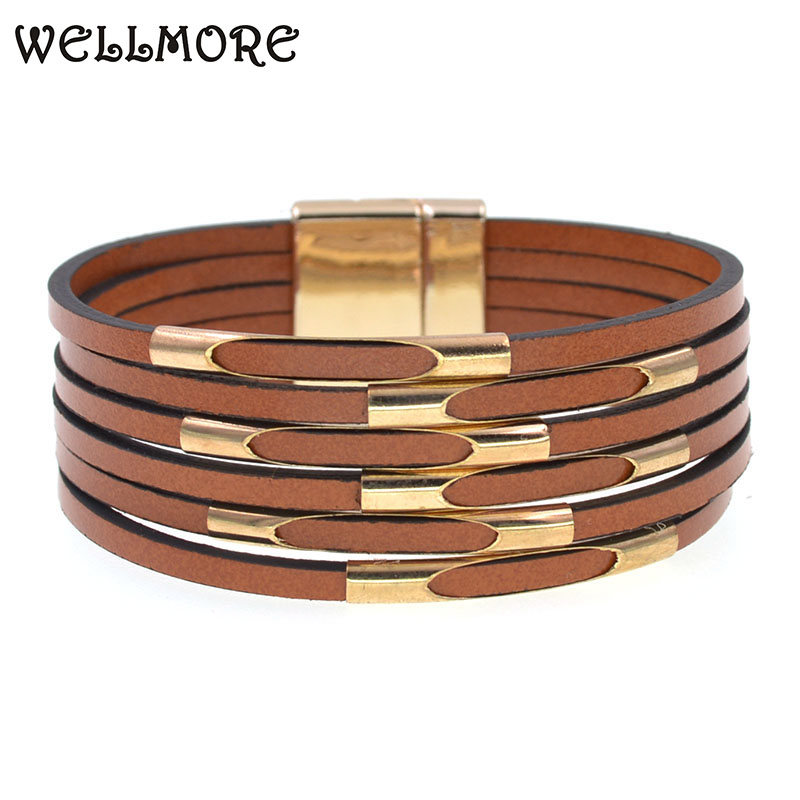 WELLMORE Leather Bracelets for Women 2020 Fashion Bracelets & Bangles Elegant Multilayer Wide Wrap Bracelet Jewelry wholesale