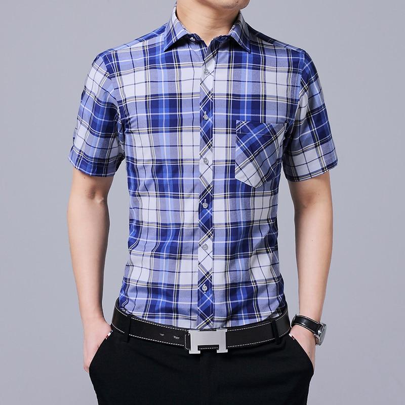 Рубашка мужс New Hot Summer Men Dress Shirts Male Short Sleeve Plaid Shirt Cotton Slim Casual Plus Size Man Clothing M-5XL