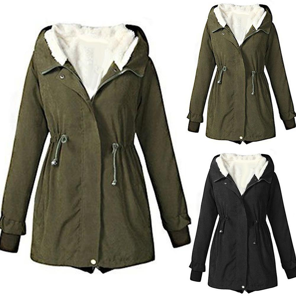 Winter Coat Women Down Jacket Hooded Black Army Green Colors Warm Female Coat Outwear Long Sleeve Parker Coat Chaqueta Mujer