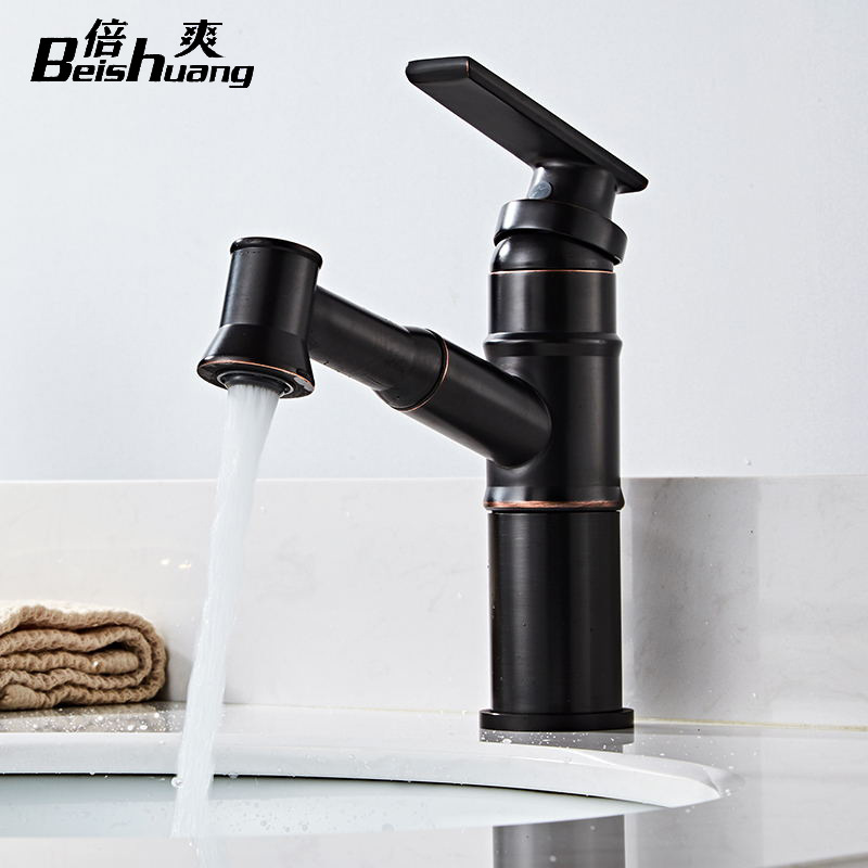 European Style Copper Pulling Wash Basin Faucet Hot And Cold Black And White With Pattern Retro Bathroom Cabinet Leading Manufac