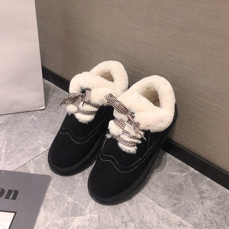 Women's shoes snow boots short tube 2019 winter plus velvet warm non-slip thick-soled lace-up cotton shoes 19