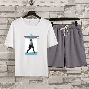Summer Men 100% Cotton Short Sleeve T-shirts Clothes Solid Color Brand New Casual Tracksuit T-shirt Suit Set T Shirt