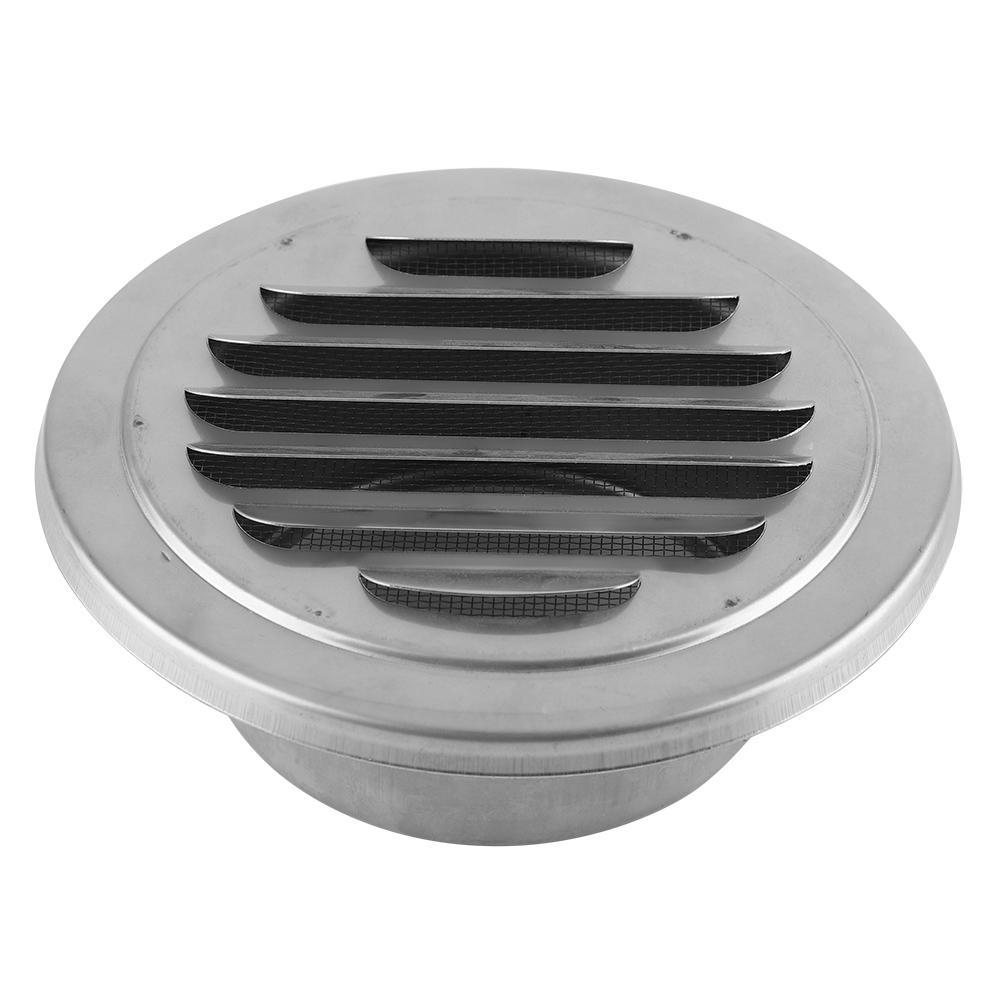 Stainless Steel Wall Air Vent Bathroom Extractor Outlet Grille Louvre Round Flat Grille Ducting Ventilation Cover