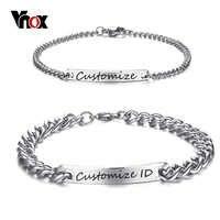 Vnox livre gravura personalizado casal promessa pulseira de aço inoxidável charme id pulseiras para feminino masculino personalizado pulseira