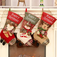 Cute Christmas Stockings Xmas Party Hanging Decorations Ornaments Candy Hanging Bags Hotel Home Gift Bag Decoration hanging ornaments pattern christmas candy bag drawstring backpack