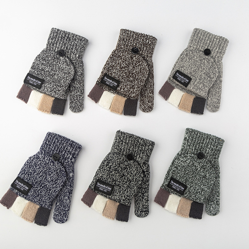 1 Pair Winter Men Gloves New Flip Wool Knitted Gloves Thicken Patchwork Flip Fingerless Exposed Finger Gloves Half Finger Gloves