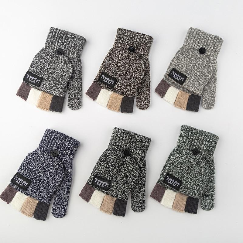 1 Pair Winter Men Gloves New Flip Wool Knitted Gloves Thicken Patchwork Flip Fingerless Exposed Finger Gloves Half Finger Gloves