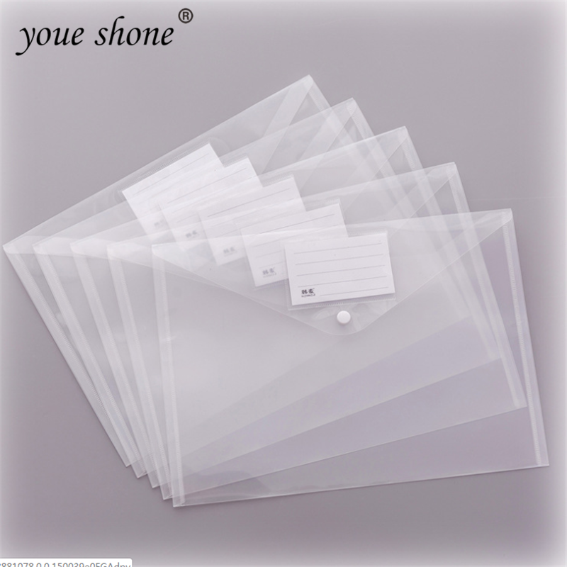YOUE SHONE 1Pcs A4 Creative Simple Transparent Snap File Bag Plastic Information Bag Student Office Supplies Storage