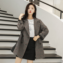 Vintage Plaid Ladies Blazer Casual Loose Simple Suit Jacket Stylish Chamaras Mujer Korean Spring Autumn Women's Clothing MM60NXZ