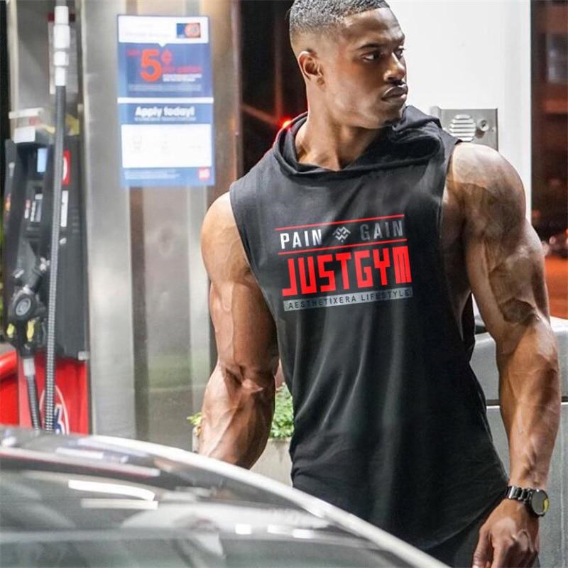 Muscleguys Brand Clothing Gym Hooded Tank Top Men Bodybuilding Stringer Hoodie Tanktop Workout Singlet Fitness Sleeveless Shirt