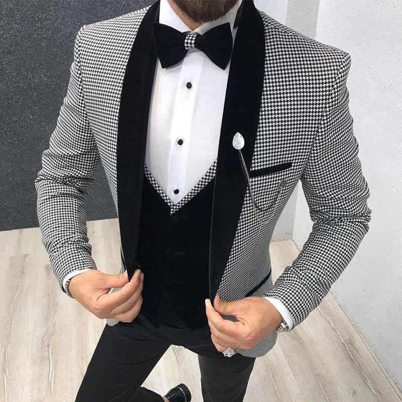 3 Piece Houndstooth Men Suit Slim Fit for Dinner Party Prom Tailor made Suit Groom Wedding Tuxedo Best Man Jacket Pants Vest