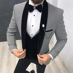3 Piece Houndstooth Men Suit Slim Fit for Dinner Party Prom Tailor made Suit Groom Wedding Tuxedo Best Man Jacket Pants Vest
