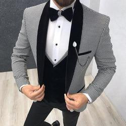 3 Stuk Houndstooth Mannen Pak Slim Fit Voor Etentje Prom Tailor Made Pak Bruidegom Tuxedo Best Man Jas broek Vest